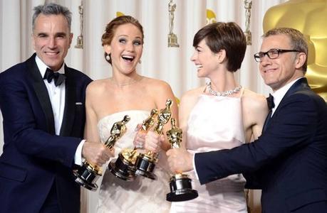 Osca 2013 Daniel Day Lewis Jennifer Lawrence Anne Hataway Christopher Waltz oscar miglior attori rossella farinotti labrouge