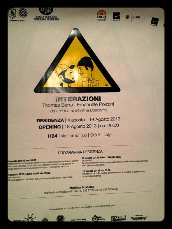 Interazioni residenza d'artista Thomas Berra Emanuele Polzoni idea Marilina Buscema Scicli programma