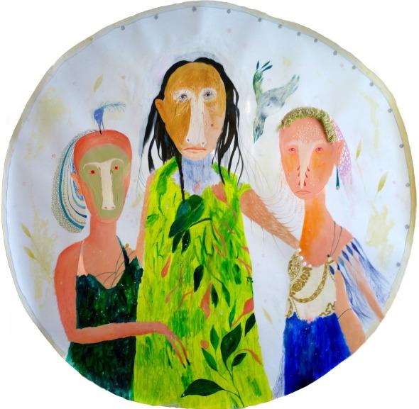 Silvia Mei, Io, la mia coscienza e il mio male, tec mista e collage su carta, 100x99cm, 2013.