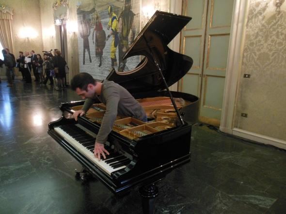 Stop, repair, Prepare, variations of Ode to Joy for a prepared piano, fault lines allora & calzadilla palazzo cusani fondazione trussardi massimiliano gioni labrouge