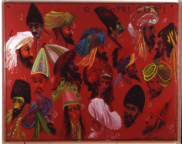 Aldo Mondino, Capi e copricapi, 1992, olio su tela, 190×240 cm
