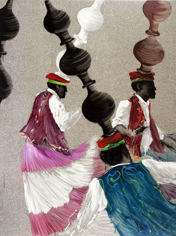 Aldo Mondino, La danse des jarres, 1997, olio su linoleum