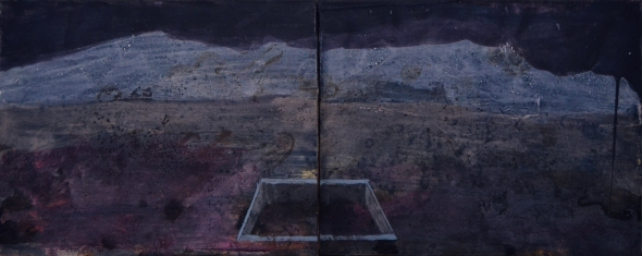 Luoghi di sepoltura, diptych 27x68cm, mixed media on canvas, 2013