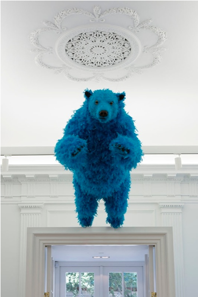 Paola Pivi personale New York chez Perrotin vertical blue bear solo show ok you are better than me, so what  labrouge