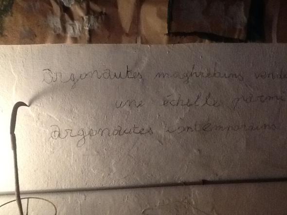spazio Tabadoul 2 e mezzo scritta muro, Berra e Zinesi a Tangeri spazio Tabadoul scambio labrouge