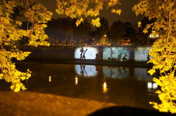 William Kentridge per Tevereterno notte intervento murale site specific  smog labrouge