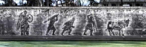 William Kentridge sponde del Tevere intervento murale site specific con lo smog labrouge