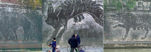 William Kentridge sponde del Tevere intervento murale site specific figure mitologiche  con lo smog labrouge