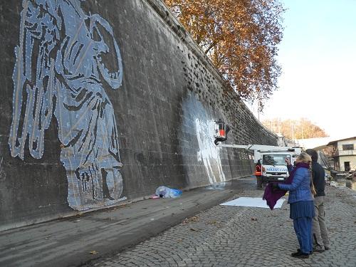 William Kentridge sponde del Tevere intervento murale site specific  smog labrouge