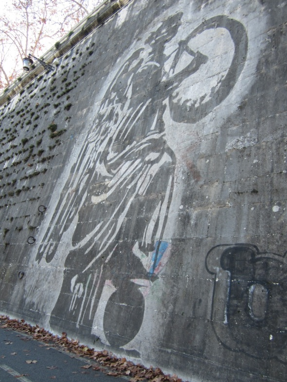William Kentridge sul Tevere intervento murale site specific  smog labrouge