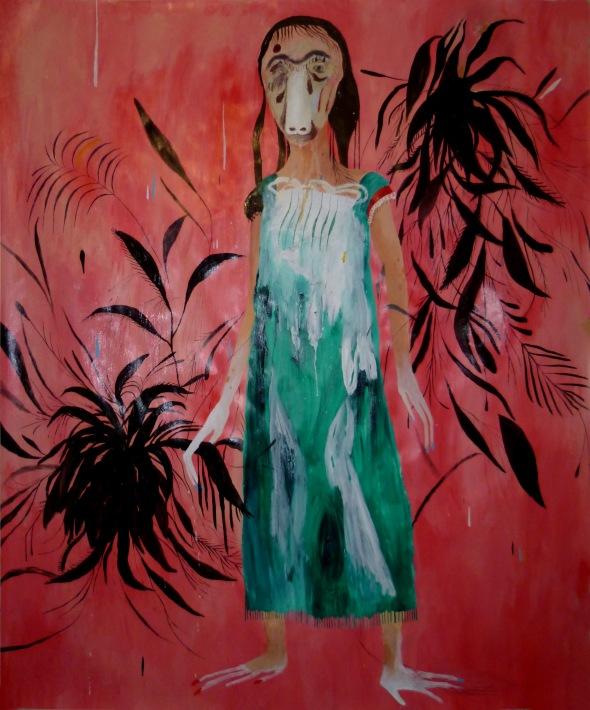 Quando ti penso (foglie nere),, tecnica mista su carta intelata, 143x173cm, 2014