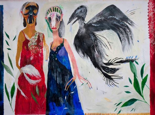 Silvia Mei, Il giorno dei liquidi, cm150x203, mixed media on paper on canvas, 2013