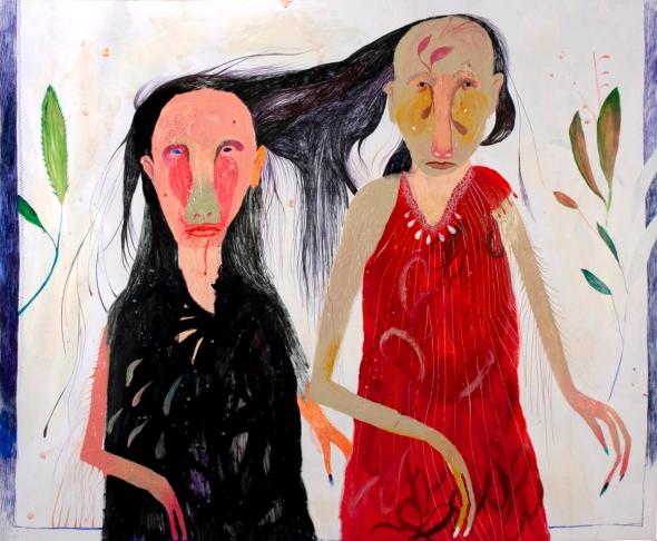 Silvia Mei, Io con l'altra me, 80x97cm, mixed media on paper, 2013