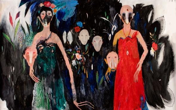 Slvia Mei, Bracciateste e veste rossa,cm242x150 acrylic and mixed media on paper on canvas, 2014