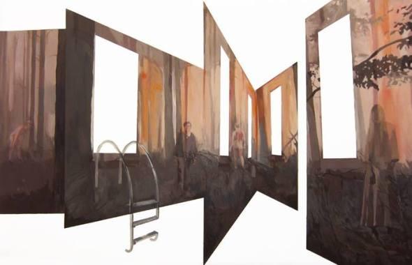 Anna Caruso, chi prima arriva inciampa, 95x150cm, acrilico su tela, 2014