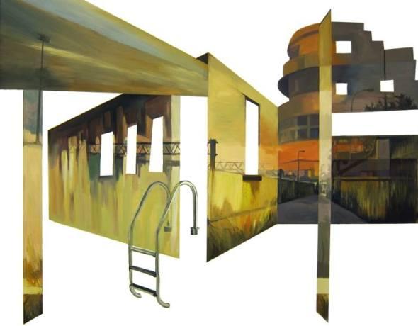 Anna Caruso, discesa gialla, acrilico su tela, 70x90cm, 2014