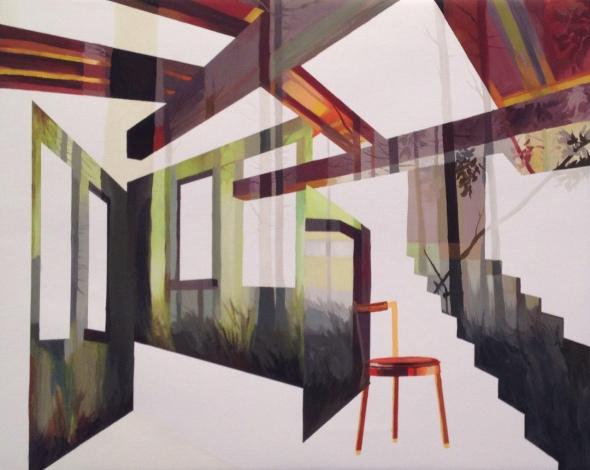 Anna Caruso, interno verde, acrilico su tela, 40x50cm, 2014