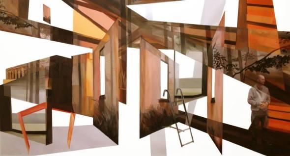 Anna Caruso, memoria bianca, 135x250cm, acrilico su tela, 2014