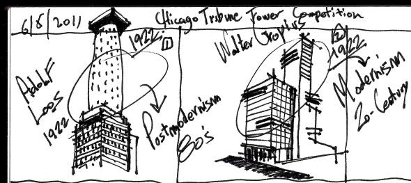 Jeff Carter interpretation of Walter Gropius Chicago Tribune Tower The Mission, Chicago, labrouge