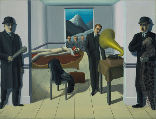 Rene Magritte, The MEnaced Assassin,   The Mystery of the Ordinary 1926-1938 The Art Institute of Chicago, labrouge egg and bird