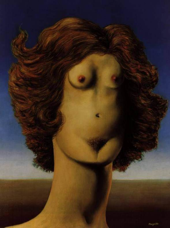 Rene Magritte, Woman, The Mystery of the Ordinary 1926-1938 The Art Institute of Chicago, labrouge egg and bird