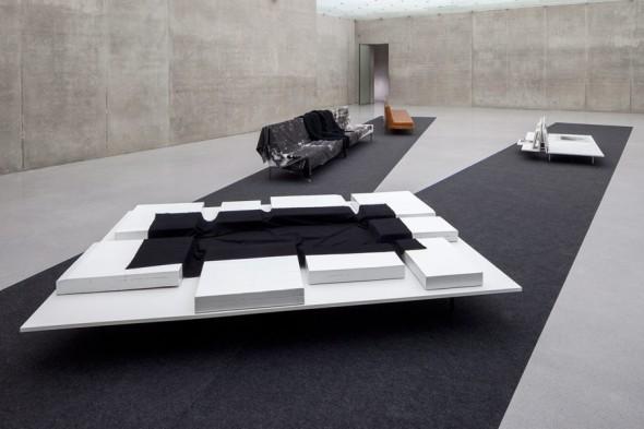 Rosemarie Trockel Bregenz khunstaus installation view furniture sofas works texture labrouge