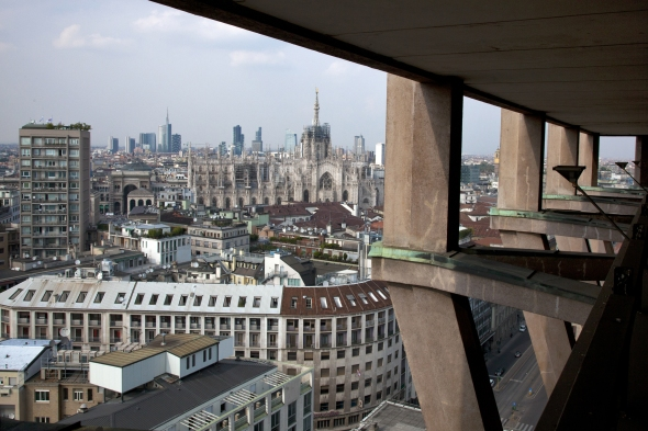 september 2014. The new skyline view from 'Torre Velasca', one of the oldest city skyscraper (1956).