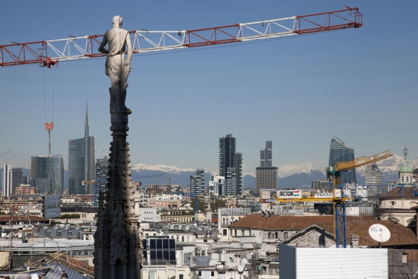october 2013. A city skyline and a crane view from the Duomo cathedral.