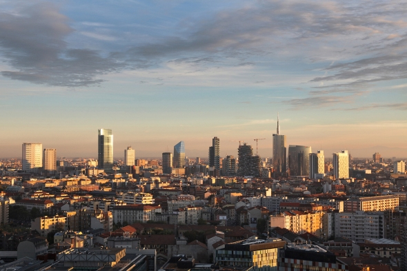 october 2013. the new skyline of Milan at sunset.